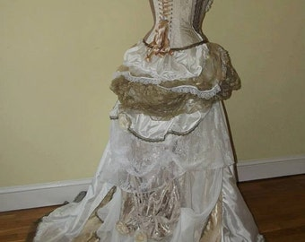 Steampunk Victorian wedding dress / prom with corset, bustle & train MADE TO ORDER/ Measure