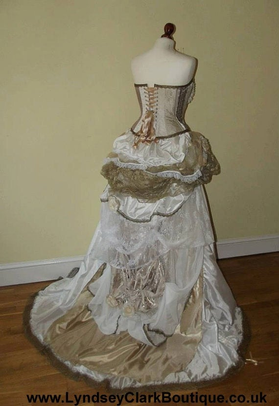 Steampunk victorian wedding dress prom with corset bustle for Victorian corset wedding dresses