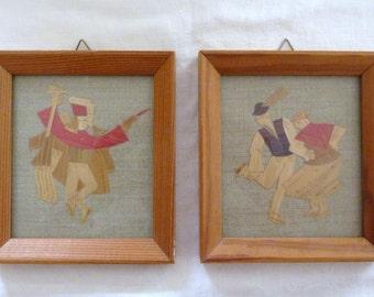 Pair of Framed Wood Collage Art Pieces / Bavarian Dancers / Vintage Mid Century