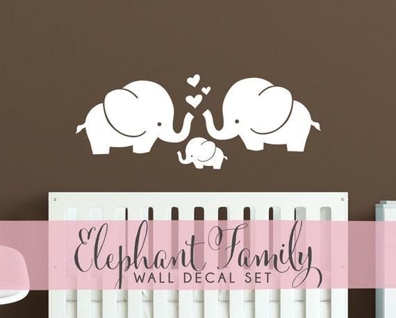 Cute Elephants Wall Decal   Elephant Family Baby Room Wall Sticker    WAL A153