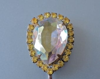 Czech Hair Pin Aurora Borealis Teardrop and Yellow Rhinestones Large Hair Jewelry Art Deco