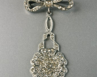 Czech Brooch Art Deco Pave Rhinestone Chatelaine Hinged Brooch Bow and Flower