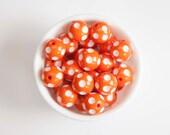 Orange Polka Dot 20mm Chunky Beads 10 ct for Bubblegum Necklace