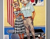 Art Print - Guests for Dinner - cat couple