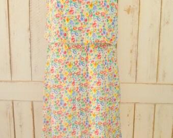 Vintage colorful mini floral prairie sun dress