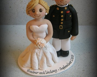 Wedding Cake Topper, Custom Wedding Topper, Marine and Bride, Military, Bride and Groom, Personalized, Polymer Clay, Keepsake