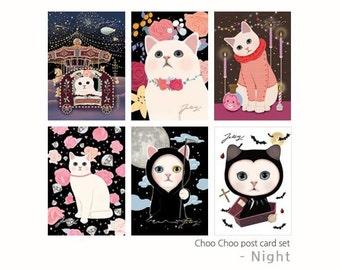 Postcards - Choo Choo cat Postcard set - Night 6 sheets by Korean Jetoy
