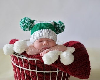 Newborn Knit Pom Pom Hat, Green and White Baby Hat, Newborn Photography Prop, St. Patrick's Day and Christmas Styles