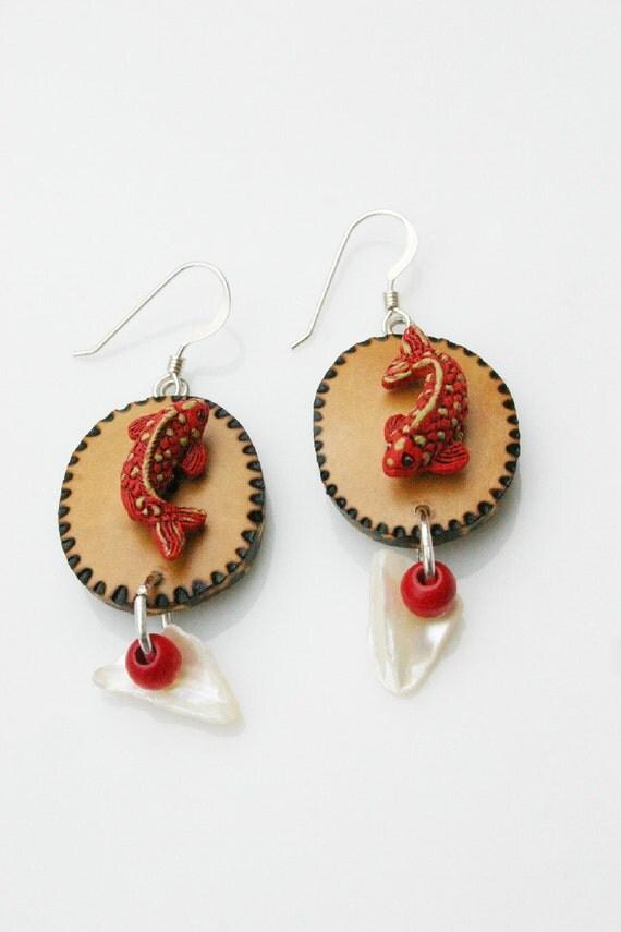 Native American Inspired Gourd Shell Earrings, Natural Jewelry, Spotted Alaskan Salmon Earrings, Koi Fish Earrings, OOAK