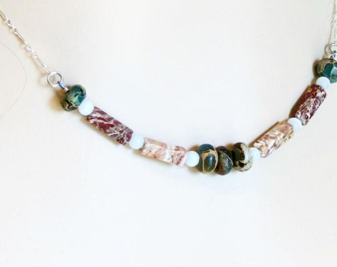 Gemstone Necklace Zebra Jasper African Turquoise Autumn