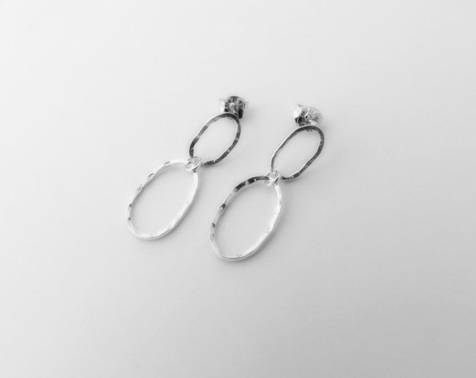 Ovals, Minimalist Post Earrings, Dangle Stud Loops, Earrings Silver, Handmade Gift for Her
