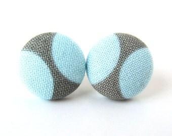 Sky blue gray stud earrings - grey fabric button earrings - pastel blue post earrings simple
