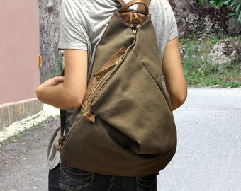 Handmade backpack made in  cotton linen canvas- leather ,in brownish-grey tone color .Named Kalliope MADE TO ORDER