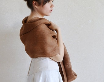 Light Brown Linen Infinity Scarf / Shawl / Wrap With The Flower Sheer Accessory For Occasion
