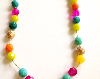 Bright Cheery Neon Summer Colors Czech Glass Beaded Necklace. A electric selection of bright beads to enhance any outfit. Can Customize