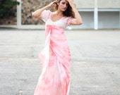 Peach blush gown. Seamless Felted pink long dress, OOAK Dress for maid of honor or wedding in greek style