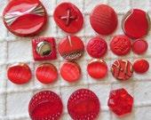 17 Vintage Czech Art Deco Red Glass Buttons