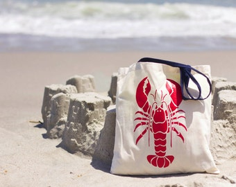 Lobster Canvas Tote (Navy or Natural handle)