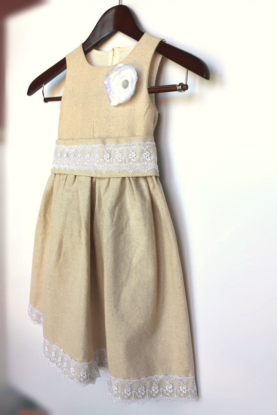 Rustic Cotton and Lace Flower Baby Girl  Dress, Wedding, Birthday, Princess