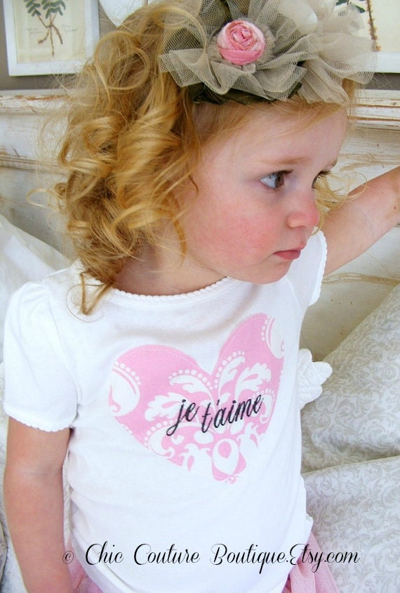 Baby Girl and Girl JeTaime Love Be Mine Personalized Heart Tee T-shirt.  Any Embroidery.  Baby's 1st First Valentine's, 1st Birthday Outfit