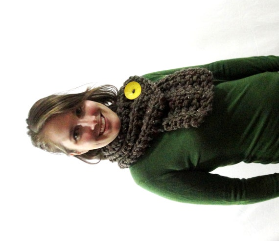 Barley Brown Chunky Knit Cowl Scarf with Large Yellow Button