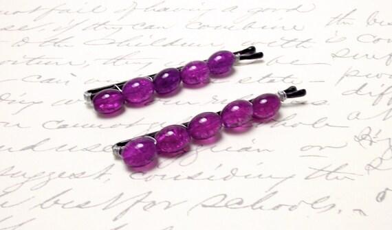 Orchid Purple Hair Accessories. Violet Purple Beaded Bobby Pins.  Purple Hair Barrettes. Purple Hair Pins. Victorian Style Hair.