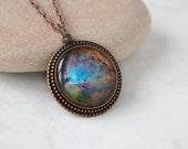 Orion Nebula Necklace, Antique Copper Pendant,Glass Cabochon Pendant With Chain