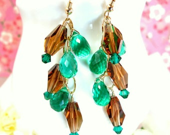 Brown Swarovski Crystal Emerald Green Quartz Chandelier Gold Earrings, Wizard of Oz Emerald Cluster Gold Filled Chandelier