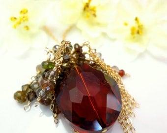 Orange Whiskey Quartz Brown Tourmaline Swarovski Topaz Chain Bohemian Necklace, brown boho chic gold chain necklace