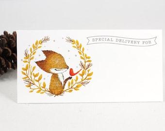 10 Mailing Labels - Fox Wreath