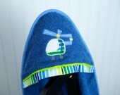 boy hooded towel helicopter applique blue and green towel infant toddler boy gift many colors