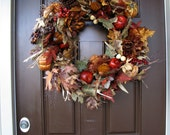 Autumn Fruits Wreath, Apples Pears and Pumpkins Fall Wreath, Autumn Leaves Wreath, Wreath for Autumn
