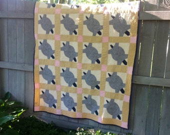 Vintage Terrapin 1950 Turtle Quilt Top Repurposed Into New Twin Bunk Bed Quilt Blue Gingham Cream and Pink