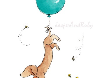 Dachshund Art Turquoise Balloon 5x7 8x10 11x14 13x19 Print Nursery Art Wiener Dog Puppy Dog Nursery decor children's art kids wall art