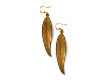 Wavy Etched Leaf Earrings