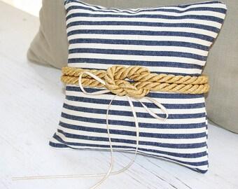 Beach Wedding, Ring Pillow, Nautical Knot - Golden Rope - Navy Blue  - Ring Bearer Pillow - Matching Flower Girl Basket Available