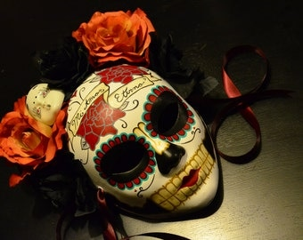 Mi Amor Eterno Mask- Widowed Bride Day of the Dead - Bridal Dia de los muertos Red and Black Rose Headdress Flash Tattoo