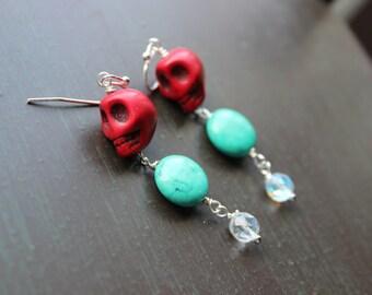 Rockabilly Red Sugar Skull earrings