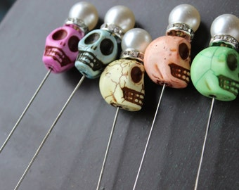 Day of the Dead Wedding Sugar skull Pin Creepy Jewelry Halloween Skull Pin