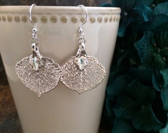 Silver Dipped Aspen Leaf Earrings, Aspen Leaf Earrings, Leaf Earrings, Bridesmaid Earrings, Birthday Gift, Wedding Jewelry, Bridal Jewelry