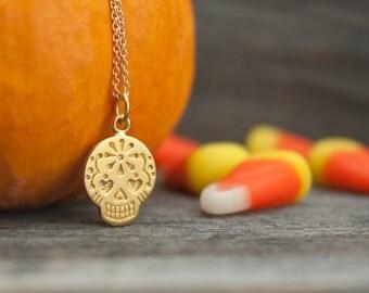 Solid 14k Gold Sugar Skull Necklace - Halloween Fine Jewelry. Day of the Dead Jewelry. Dia De Los Muertos. October Wedding