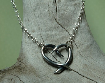 Cross My Heart Artisan Necklace - PMC - Fine Silver Heart Necklace