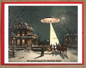 UFO, Christmas Cards, Sci Fi, Vintage, Christmas Scene, Funny Christmas Card, Alternate Histories, Geekery, Martians, Holiday Card