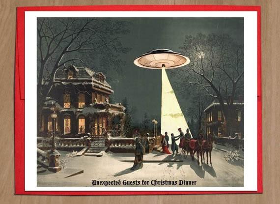 UFO Christmas Cards Sci Fi Vintage Christmas Scene Funny