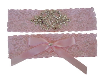 Baby Pink Stretch Lace Wedding Garter Set with Sparkling Crystals