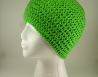 Solid Classic Style Beanie Hat in Bright Green - Multiple sizes Made to Order
