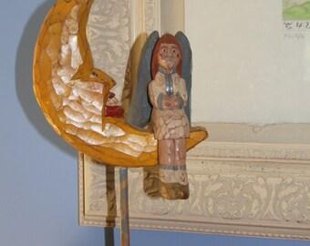 Folk Art Wood Angel on Half Moon