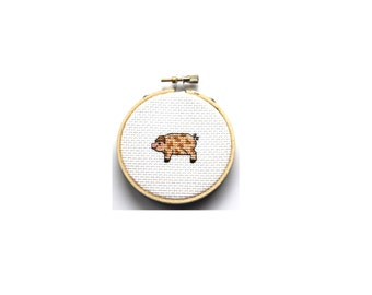 Dirty Piggy Cross Stitch (finished and framed in embroidery hoop)