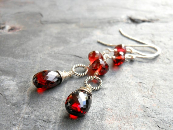 Garnet Earrings Long Faceted Red Gemstone Earrings, Sterling Silver Wire Wrapped, Garnet Jewelry