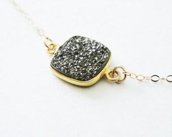 Gold Druzy Necklace 14 Karat Gold Black Drusy Stone Necklace Filled Gemstone Crystal 16 Inches